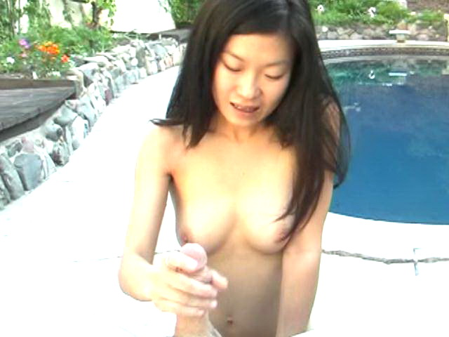 Fine looking slim amateur asian Leandra Lee gives handjob and blowjob outdoors