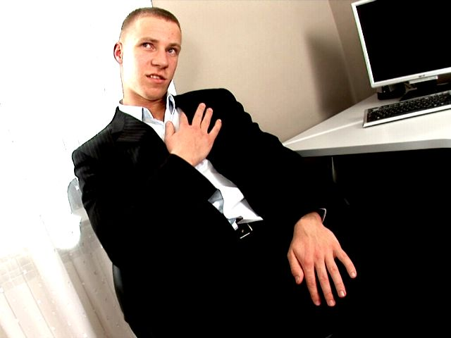Firm bodied sexy gay Ken spreading legs on the desk and jerking off his huge cock for you Gay Sex Exposed XXX Porn Tube Video Image