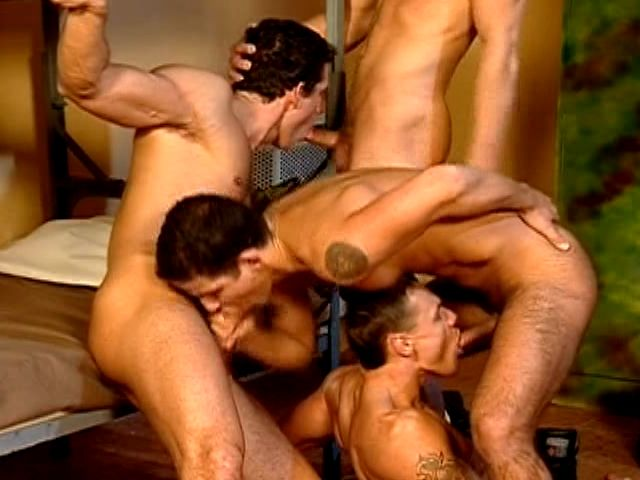 Four hefty gays sucking their huge shafts and screwing hard their asses