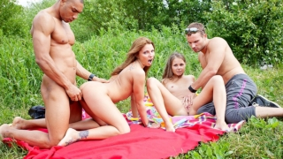Foursome fuck scene with students