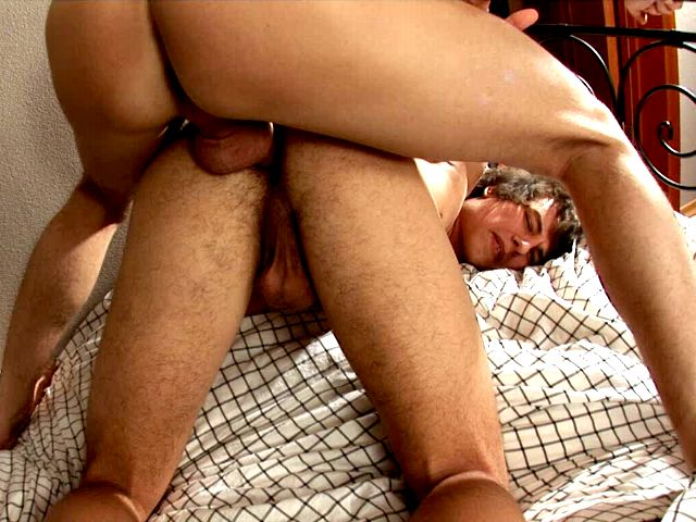 Good looking brunette Euro twink Jerome riding anally Tommy's fat pecker in the bedroom