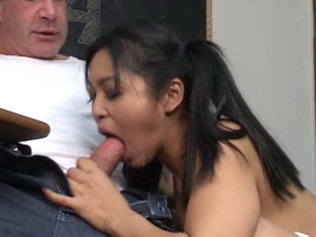 Gorgeous asian coed in pigtails Mika Tan slurp a thick cock