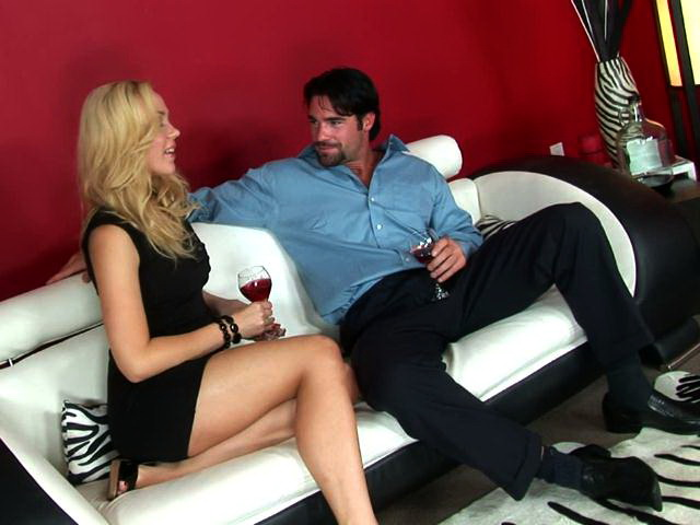 Gorgeous blonde pornstar in sexy heels Annette Schwarz drinking wine with a horny stud