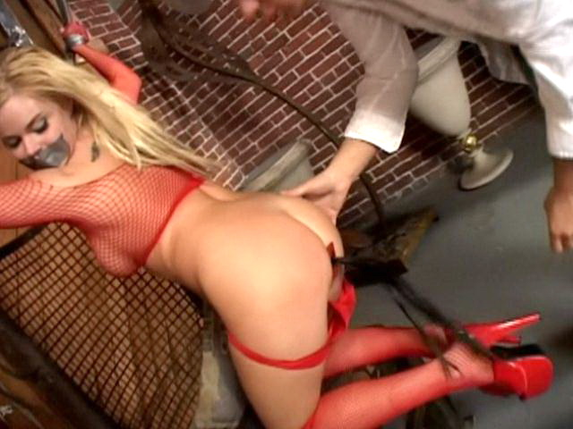 Gorgeous blonde slave in high heels Alicia Rhodes gets tied up and ass spanked and toyed