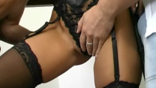 Gorgeous brunette slave in sexy lingerie Caslavova gets pussy fingered and mouth fucked by two masters