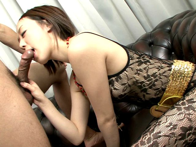 Gorgeous Japanese girl Rina Yuuki giving deep throat to a horny dude on her knees