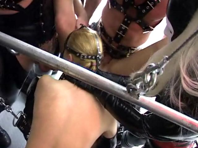 Gorgeous slave in mask gives blowjob and gets fucked hard in foursome