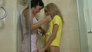 Gorgeous teenage lesbian babes Stephanie And Isabel getting wild in the shower