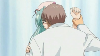Green Haired Anime Nurse Wanking Her Doctor`s Huge Cock