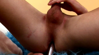 Handsome twink riding anally a huge dildo while masturbating his large penis