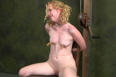 Harsh breast bondage