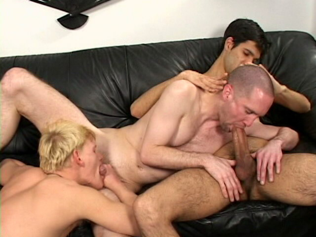 Hawt bald gay Russ slurping an immense shaft on the couch Impossible Gay Cocks XXX Porn Tube Video Image