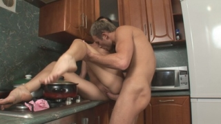 Heavy pussy pounding action on the kitchen table