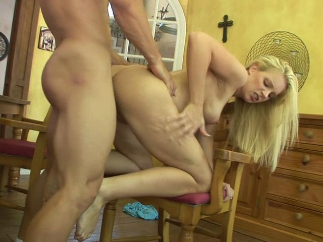 Heidi Johnny bends over a chair and gets fucked from behind