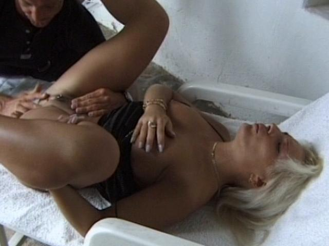 Horny amateur girl getting pierced pussy fingered at the poolside