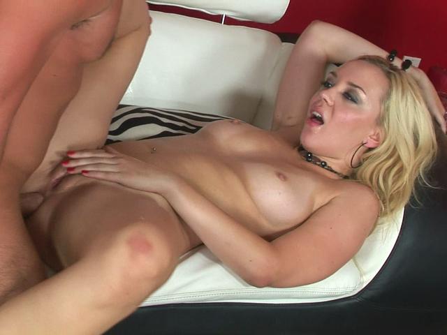 Horny blonde pornstar Annette Schwarz gets fucked on a couch