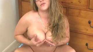 Horny Blonde Teenage Hottie In Glasses Christy Teasing Us With Her Big Tits And Chubby Ass