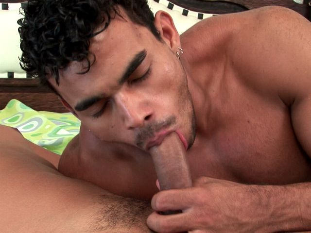 Horny brunette gay Alex Junior sucking Poax's massive penis on the camera