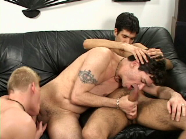 Horny gay sucking Steeve`s impossible cock in a threesome on the couch