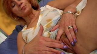 Horny Granny In Mini Dress Lady Touching Her Body With Lust