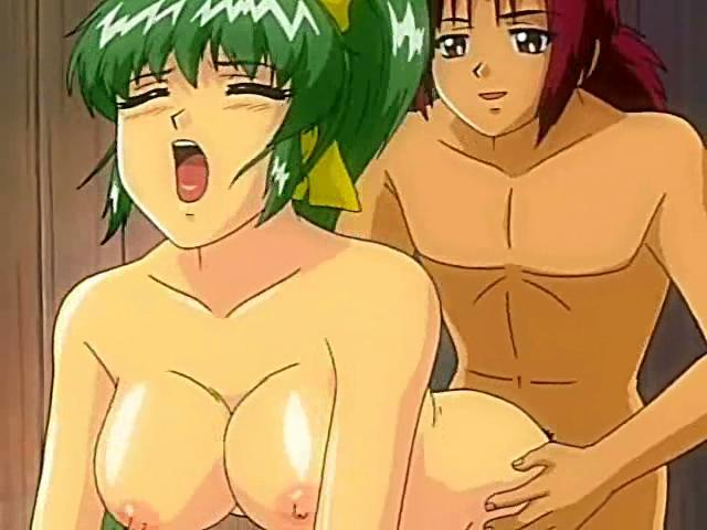 Horny green-haired hentai babe gets her tight pussy fucked by a big dick