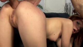 Horny redhead bitch getting skinny arse humped by a monster schlong