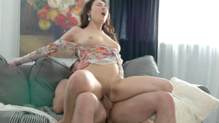 Horny Shelby had her 18 year old pussy rammed from behind on virgin sex