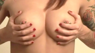 Horny Tattooed Teen Slut Pain Playing With Her Round Pierced Jugs