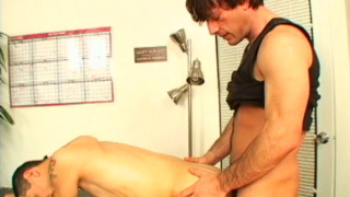 Horny twink Stonie getting balls licked and cock sucked in a threesome