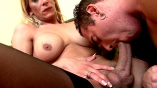 Hot and trashy blonde shemale cheerleader Celeste having sex with a heft tattooed stud