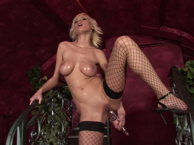 Hot blonde babe in fishnets fucking a giant glass dildo Totally Blondes XXX Porn Tube Video Image