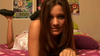 Hot brunette teen girl in white lingeria Kate Krush talking dirty in bedroom