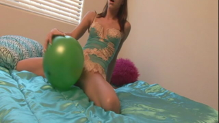 Hot Brunette Teen In Sexy Lingerie Addison Playing With A Green Balloon In Bedroom