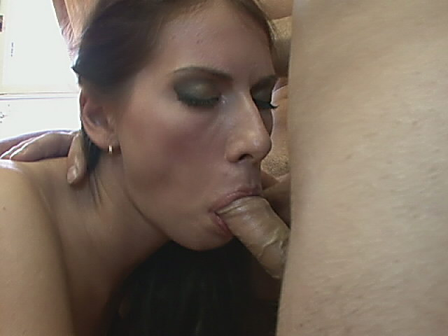 Hot brunette tramp in stockings getting anally fucked while slurping two giant dicks