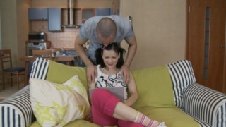 Hot couch fucking from adorable teen wench