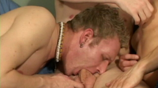 Hot gay Adam getting undressed and monster cock sucked by two horny hunks
