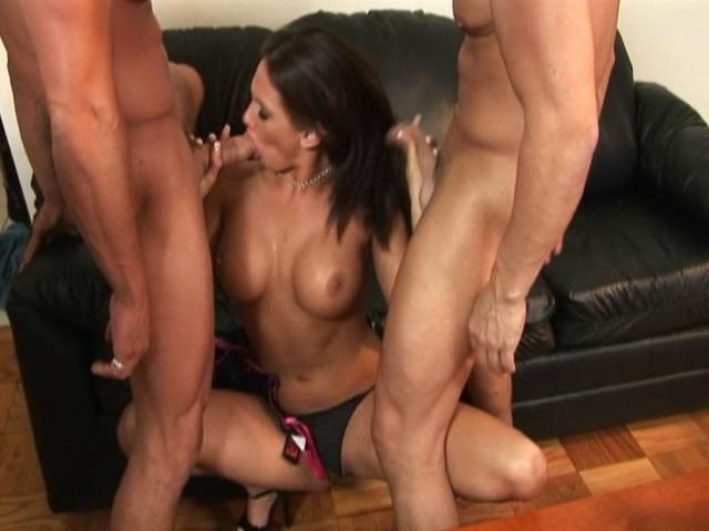 Hot pornstar Tory Lane sucks two white dicks at the same time