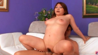Hot titted Japanese bitch Mirai Haneda humping a big shaft on the floor