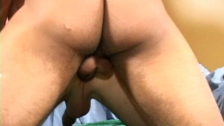 Hottie gay Felix getting throat fucked by an impossible dick in a threesome