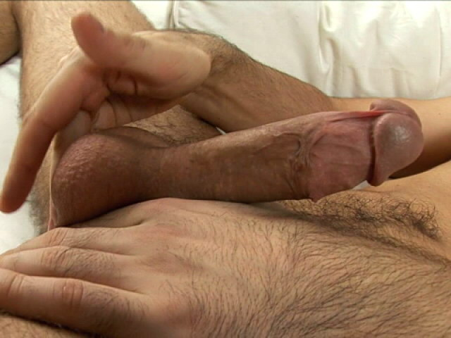 Incredible brunette euro twink jerking his giant penis on the couch