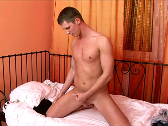 Incredible brunette european twink jerking his monster shaft in bedroom
