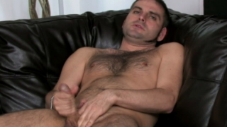 Incredible Brunette Gay Dj Jerking Off His Massive Dick On The Couch