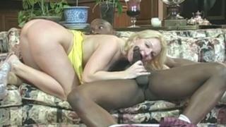 Irresistible Blonde Bitch Jessica Sucking And Wanking A Giant Black Cock
