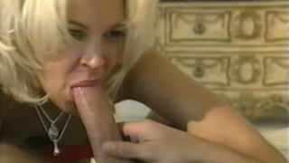 Irresistible blonde hooker Dru Berrymore sucking and riding a massive dong on the couch
