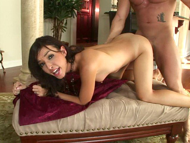 Irresistible brunette pornstar hottie Sandy Sweeet sucking a monster dick and getting fucked doggie