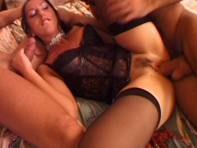 Irresistible brunette wife in stockings getting double hammered in bedroom