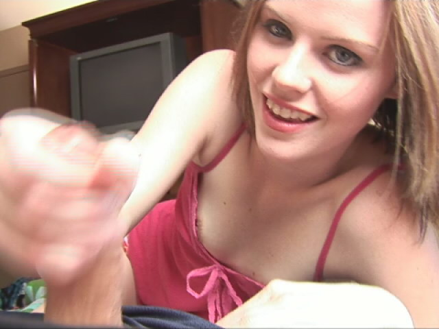 Irresistible girl in red panties Kelli teasing a dude and giving handjob Excellent Handjobs XXX Porn Tube Video Image