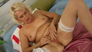 Irresistible grandmother Leona fingering her pink beaver hard
