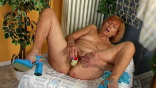 Irresistible Redhead Granny Lady Masturbating Her Wet Beaver