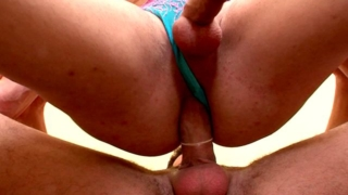 Irresistible redhead shemale babe Karla getting big butt slammed by a huge shaft